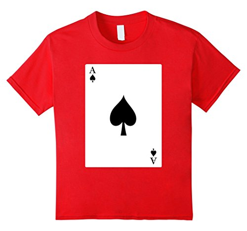 [Kids Deck Of Cards Halloween Ace of Spade Group Costume Shirt 12 Red] (Homemade Group Halloween Costumes Girls)