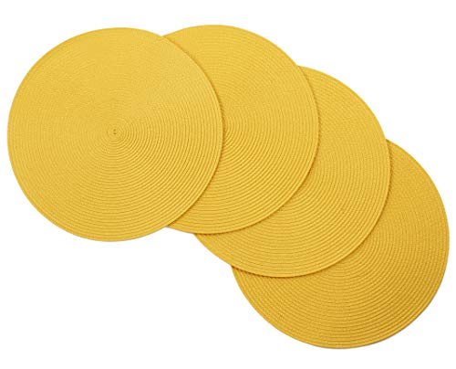 v Vienna Woven Spiral Table Placemats 15 Inches Round Set of 4 Non-Slip Dining & Kitchen Table Mats Yellow