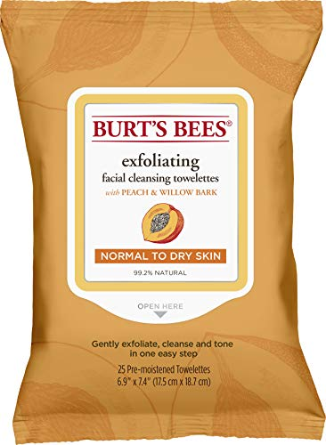 Burt's Bees Facial Cleansing Towelettes, Peach & Willow Bark Exfoliating, 25 Count ()