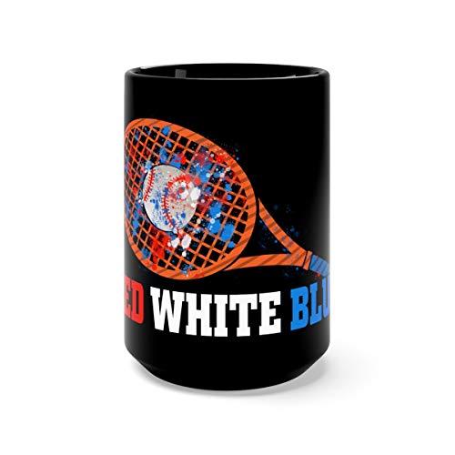 4th July Red White Blue Baseball Splash USA Patriot Milk Mug Ceramic 15oz Black