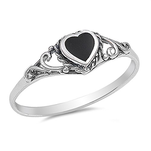 Sterling Silver Shiny Women's Simulated Black Onyx Heart Ring (Sizes 4-10) (Ring Size 6)