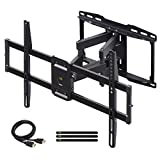 Full Motion TV Wall Mount Bracket Dual Swivel Articulating Tilt 6 Arms for Most 37-75 inch Flat Screen, LED, 4K TVs, with Max VESA 600x400mm and Fits 12' 16' Studs by USX MOUNT