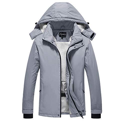 Spmor Women's Waterproof Ski Jacket Mountain Rain Coat Windproof Skin Hooded Jacket Grey Small