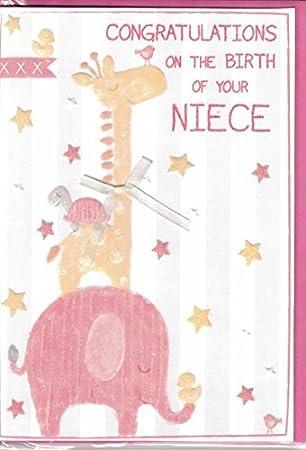 Amazon.com: Tarjeta de nuevo bebé niña ~ felicitaciones por ...