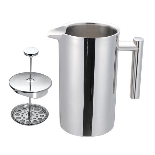 MagJo Double Wall Stainless Steel French Coffee Press, 1 Liter (Mirror Finish)