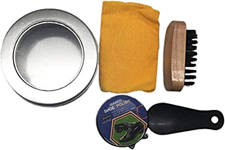 DISOK - Kit Limpia Calzado en Caja Metalica. Detalle de limpia zapatos en caja para bodas, bautizos, comuniones, eventos. Complemento calzado: Amazon.es: Hogar