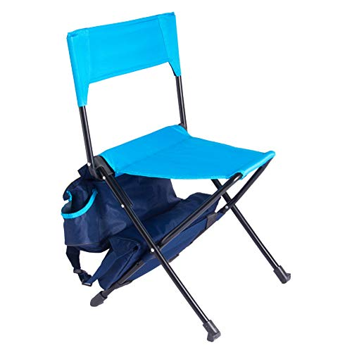 (Zenree Portable Folding Camping Chairs - Backpack Sports Chair/Stool with Cooler Bag for Outdoor Traveling, Picnic, Hiking, Fishing, Blue )