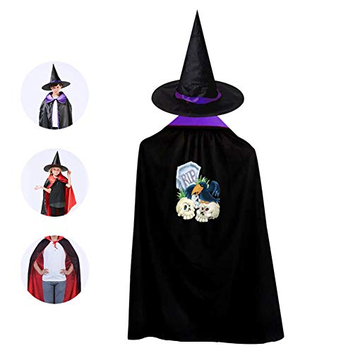 69PF-1 Halloween Cape Matching Witch Hat Tombstone Skull Wizard Cloak Masquerade Cosplay Custume Robe Kids/Boy/Girl Gift Purple -