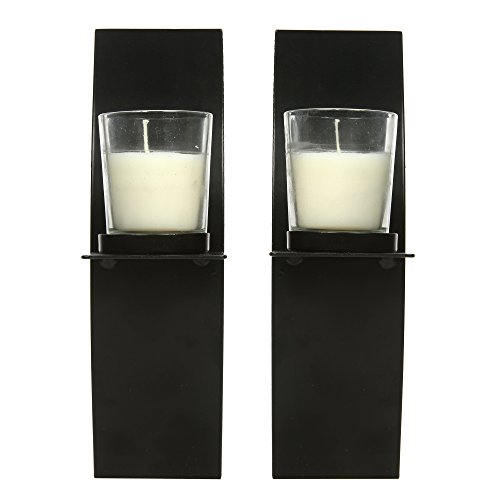 Wall Sconces Glass Candle Holders With Free Tea Lights : Hosley-Set-of-2-Modern-Art-Larger-Wall-Sconces-with-2-Clear-Glass-Votive-Candle-holders-9-High ...