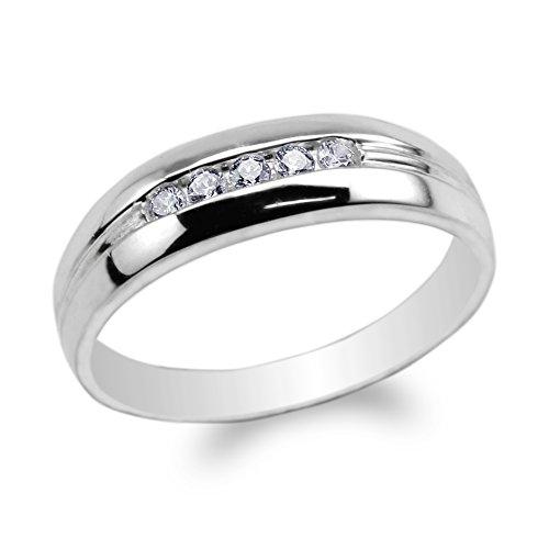 Cubic Zirconia Ring 10k (JamesJenny Mens 10K White Gold Lines Round CZ Embedded Wedding Band Ring Size 10.5)