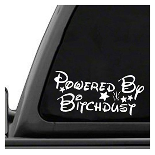 (Edtoy White Powered by Bitchdust Windshield Car Sticker, Car Body and Rear View Mirror Sticker)