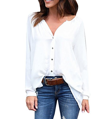Blouse Femme Mousseline Lache Tops Casual Longues de Hauts Tunique Soie Chemise Manches Blanc 4rxEwTqrZ