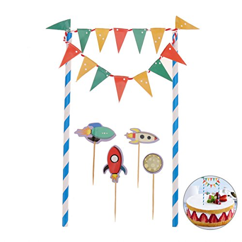 Bunting Wrap (LUOEM Spaceship Cartoon Cake Bunting Banner Flag Toppers Picks Wrap Birthday Baby Shower Decorating Kits)