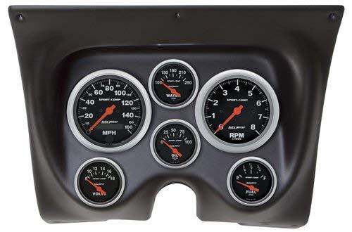 AutoMeter 7020-SC Sport-Comp Dash Panel Kit 6 pc Tach/MPH/Fuel/OilP/WTMP/Volt 8K RPM/160 MPH/100 PSI 100-250 F/8-18V/0E-90F Ohms Sport-Comp Dash Panel Kit