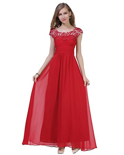 CARVAIN Cap Sleeve Bodice Rhinestones Lace Bridesmaid Prom Long Evening Dress