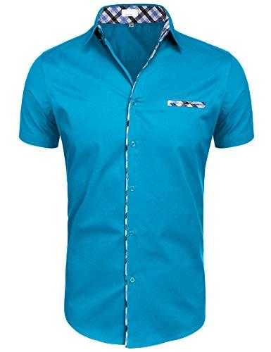 Hotouch Mens Dress Shirts Short Sleeve Casual Slim Fit Shirt Deep Sky Blue XL