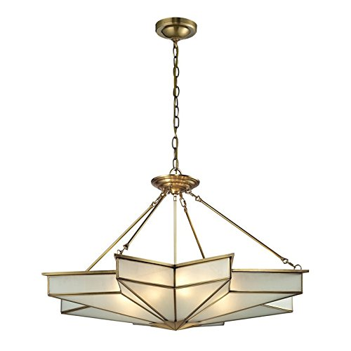 Chandelier Art Elk Deco (Elk Lighting 22013/8 Decostar Collection 8 Light Pendant, Brushed Brass)