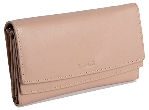 Flap Double Wallet (SADDLER Womens Real Leather Double Flap Large Multisection Purse Wallet - Taupe)