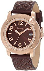 Freelook Women's HA1812RG-2 Brown Leather Band Sunray Brown Dial Rose Gold Case Watch