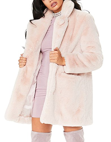 Remelon Womens Long Sleeve Winter Warm Lapel Fox Faux Fur Coat Jacket Overcoat Outwear With Pockets Pink XXL - Fur Collar Pockets