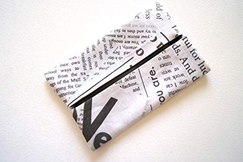 Travel Size Tissue Holder with Newsprint Pattern Fabric