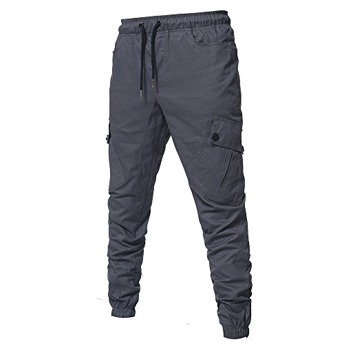 cotone da Casual da uomo Pantaloni jogging Pantaloni da Cargo Slim Cebbay in grigio sportivi cargo uomo JluTFK1c3