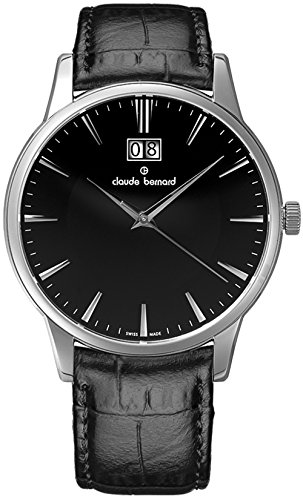 Claude Bernard Men's 63003 3 NIN Classic Gents Analog Display Swiss Quartz Black Watch