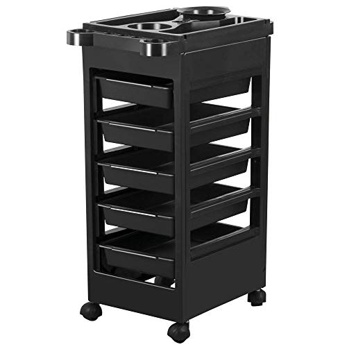 Yaheetech Salon SPA Beauty Hairdressing Rolling Trolley Cart With 5 Drawers Hair Dryer Service Tray Tool Storage Cart Black (Renewed)