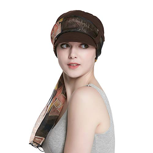 - Cotton Beanie Cancer Hat with Brim for Women