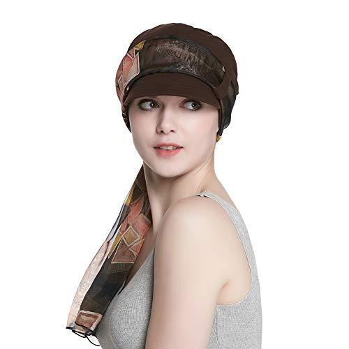 Cotton Beanie Cancer Hat with Brim for Women