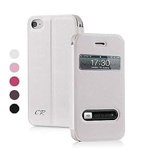 conseguir Color de la PU Leather Case Solid Body completo con el soporte y la ventana para el iPhone 4S (varios colores) comprar uno por uno duro caso , Negro