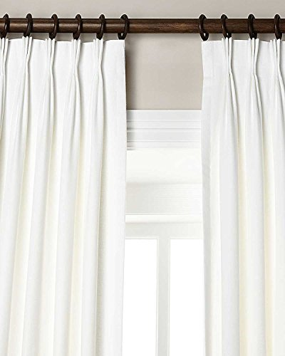(Silk n Drapes and More 100% Linen Pinch Pleated Lined Window Curtain Panel Drape (White, 27