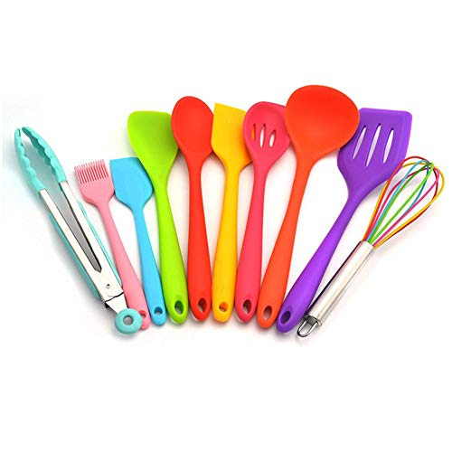Emivery 10 Pcs/set Silicone Kitchen Utensils Set,Multicolor Silicone Heat Resistant Non-Stick Kitchen Cooking Tools, Colorful Spoon Spatula Pasta Server Whisk Ladle Strainer For Home Cooking BBQ Bakin