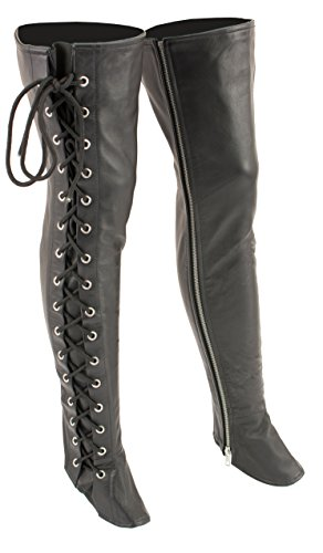 Milwaukee Leather Women's Thigh High Side Lace Leggings (Black, -