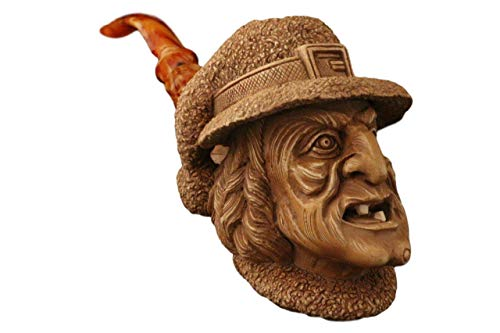 MeerschaumMarket - Meerschaum Pipe - Witch from Master Carver I. Baglan - New - Tobacco Smoking Pipe Hand Made from The Finest Block Meerschaum
