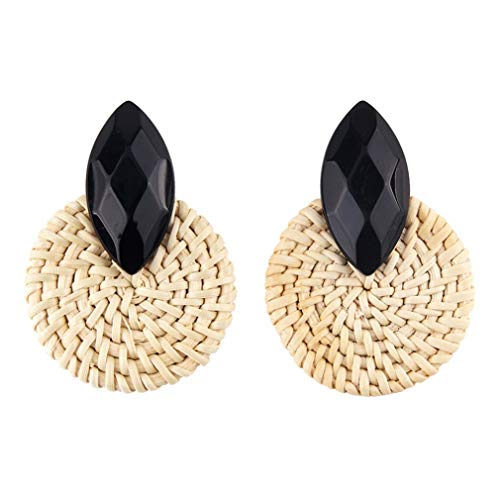 Bohemian Statement Crystal Earrings Women Handmade Bamboo Rattan Weaving Dangle Drop Earrings Jewelry