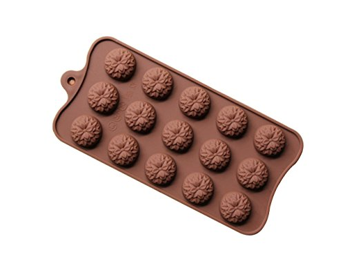 Wocuz Roses Flowers Shaped Chocolate Candy Molds Fondant Making Pan Supplies Food-grade Silicone Mold (15 Sunflower)