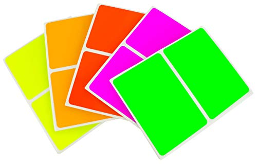 ChromaLabel 2 x 3 inch Name Tag Stickers | 5 Assorted Colors | 150 Labels/Variety Pack (Fluorescent)