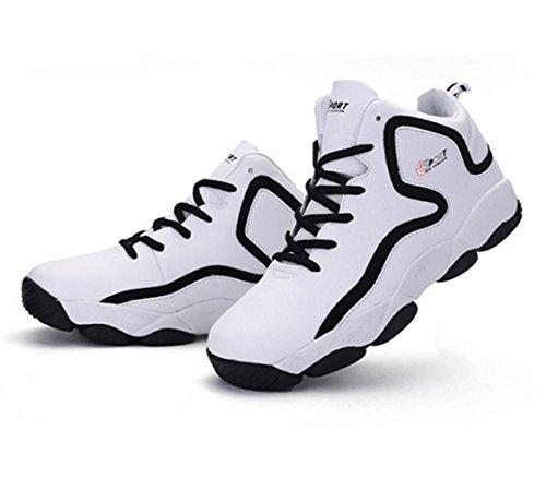 WZG la moda de alta superior zapatos de baloncesto de los nuevos hombres de la primavera, zapatos casuales zapatos transpirables de amortiguación par de zapatos deportivos modelos White