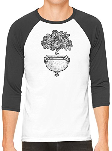 Austin Ink Apparel Art Deco Flowers White Unisex 3/4 Sleeve Baseball Tee (White Black, XL) - Designer Long Stem Roses