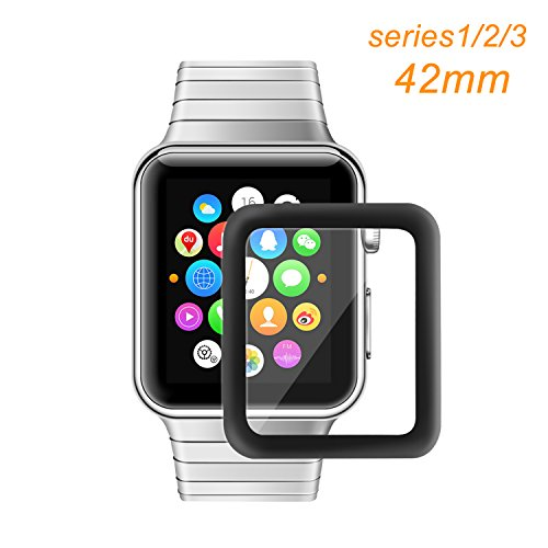 Apple Watch 42mm Screen Protector, Bestfy iWatch Tempered Glass Screen Film [Full Coverage][2.5D Curved Edge] for 42mm iWatch Series 3/2/1 (Black)
