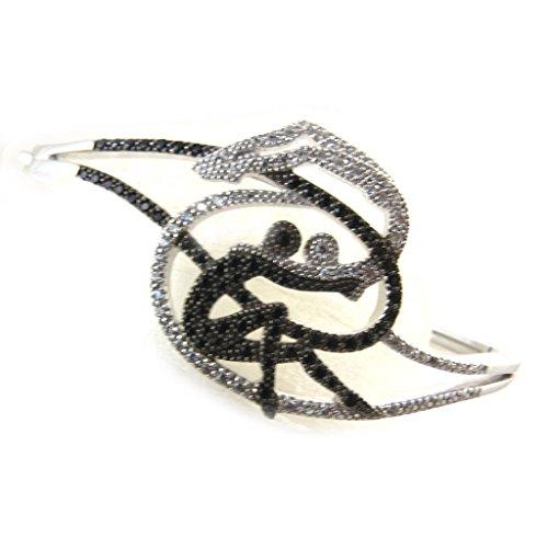 Altesse [N3244] - Bracelet Argent 'Romeo et Juliette' noir blanc