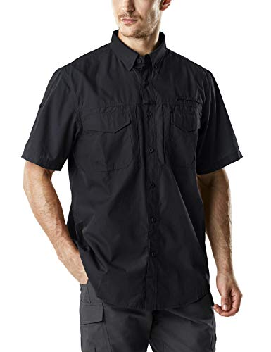 CQR Men's Performance Fishing Gear UPF 50+ Short-Sleeve Breathable PFG Rip-Stop Shirt, Short Sleeve(tos401) - Black, Large