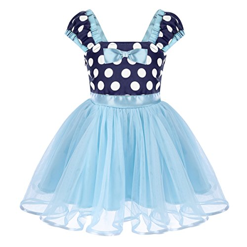 IWEMEK Toddler Baby Girls Polka Dots Princess Birthday Party Fancy Costume Tutu Dress Up 3D Mouse Ears Headband 1-4T Blue Dress 2-3 Years
