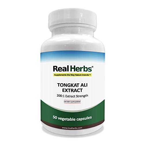 Tongkat Ali Testosterone - Real Herbs Tongkat Ali Extract 400mg - 200 to 1 Extract Strength - Natural Testosterone Booster - Also Known As Longjack or Eurycoma Longifolia - 50 Vegetarian Capsules of Root Powder