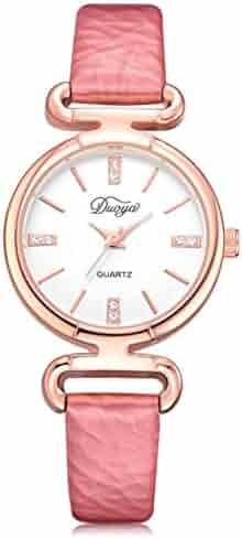 3dbc752e0 Perman Womens Wrist Watch, Duoya D216 28MM Analog Pointer Quartz Artificial  Diamond PU Leather Band