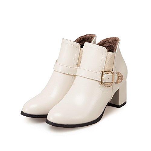 VogueZone009 Damen Rein PU Mittler Absatz Ziehen auf Spitz Zehe Stiefel, Cremefarben, 37
