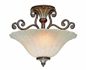 Savoy House Lighting 6-3008-2-8 St. Laurence Collection 2-Light Semi-Flush Ceiling Mount, New Tortoise Shell with Sliver Finish with Cream Marble Glass