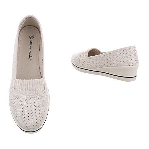 1305 Beige Piatto Scarpe Ital Slipper Da Mocassini design Donna q84w0O4