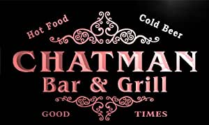 u07775-r CHATMAN Family Name Bar & Grill Cold Beer Neon Light Sign